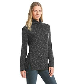 DKNYC® Speckled Turtleneck With Faux Suede Trim