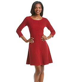 Julian Taylor Embossed Sweater Dress