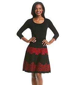 Julian Taylor Scoop Neck Patterned Skirt Dress