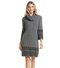 Madison Leigh® Cowl Neck Patterned Sweater Dress