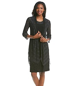 R&M Richards® Fringe Crochet Jacket Dress