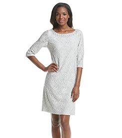 Jessica Howard® Beaded Neckline Patterned Dress