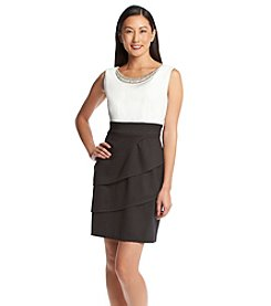 Connected® Petites' Two Tone Tiered Dress