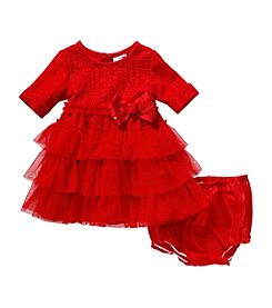 Sweet Heart Rose® Baby Girls' 12-24 Month 3/4 Sleeved Solid Dress With Diaper Cover