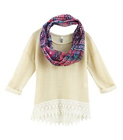 Beautees Girls' 7-16 Natural Crochet Trimmed Tee With Scarf