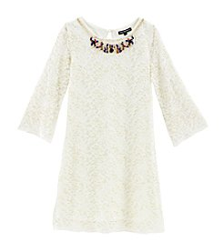 Sequin Hearts® Girls' 7-16 Lace Shift Dress With Attached Necklace