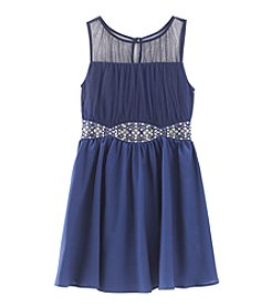 Sequin Hearts® Girls' 7-16 Illusion Neckline Dress With Embellishment