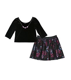 Amy Byer Girls' 7-16 Floral Skirt Set