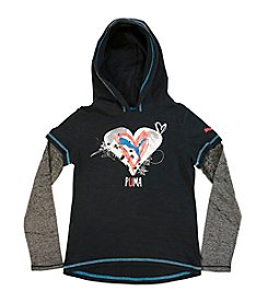 PUMA® Girls' 7-16 Long Sleeve Heart Hoodie