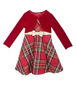 Rare Editions® Girls' 7-16 Plaid Dress With Cardigan
