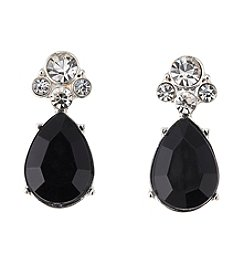 Studio Works® Black and Silvertone Teardrop Post Earrings