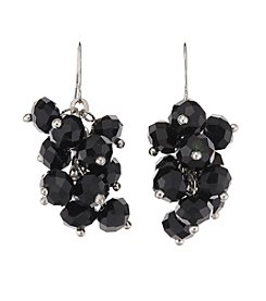 Studio Works® Black and Silvertone Faceted Bead Cluster Drop Earrings