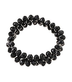 Studio Works® Black and Silvertone Faceted Bead Three Row Stretch Bracelet