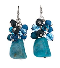 Studio Works® Teal and Goldtone Beaded Cluster Earrings