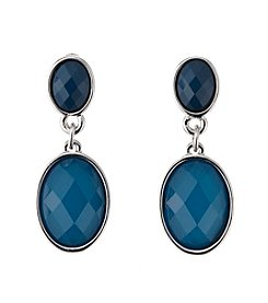 Studio Works® Teal and Silvertone Faceted Double Drop Earrings