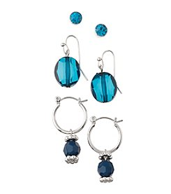 Studio Works® Teal and Goldtone Post Drop and Hoop Trio Earrings Set
