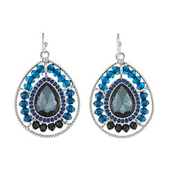 Studio Works® Teal and Silvertone Beaded Teardrop Drop Earrings