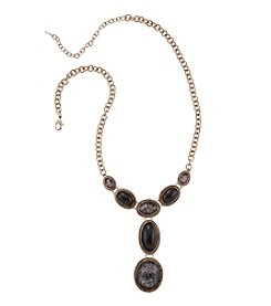 Napier® Goldtone and Jet Patterned Stone Y Necklace