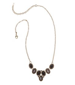 Napier® Goldtone and Patterned Jet Small Frontal Necklace