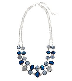 Napier® Silvertone and Blue Beaded Two Row Necklace