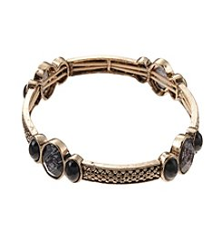 Napier® Goldtone and Patterned Jet Stone Small Stretch Bracelet