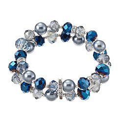 Napier® Silvertone and Blue Beaded Two Row Stretch Bracelet
