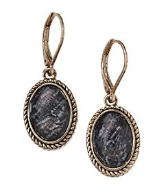Napier® Small Goldtone and Patterned Jet Bead Drop Earrings
