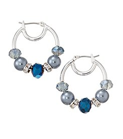 Napier® Silvertone and Blue Beaded Hoop Earrings