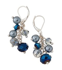Napier® Silvertone and Blue Beaded Cluster Drop Earrings