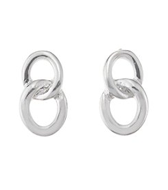 Napier® Silvertone Double Link Knot Earrings