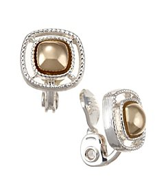 Napier® Two Tone Small Square Button Clip Earrings