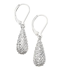 Napier® Silvertone Textured Small Teardrop Earrings
