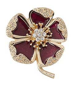 Napier® Goldtone and Burgundy Flower Brooch with Gift Box