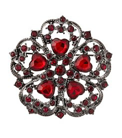 Napier® Hematite Tone and Red Bead Floral Pin with Hearts in Gift Box
