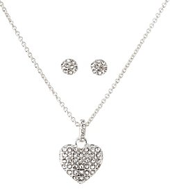 Napier® Silvertone and Crystal Heart Necklace and Earrings Set in Gift Box