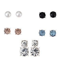 Napier® Silvertone Set of Interchangeable Stud Earrings