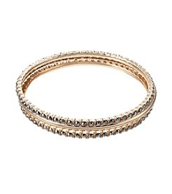 Napier® Goldtone Three Row Bangle Bracelet Set in Gift Box