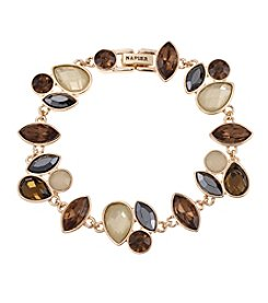 Napier® Goldtone and Neutral Color Stone Flex Bracelet in Gift Box
