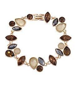 Napier® Goldtone and Neutral Color Stone Flex Bracelet in Gift Box