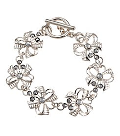 Napier® Silvertone and Rhinestone Bow Bracelet in Gift Box