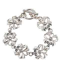 Napier® Silvertone and Rhinestone Bow Bracelet in Gift Box