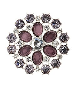 Napier® Silvertone and Pink/Purple Stone Brooch in Gift Box