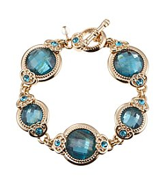 Napier® Goldtone and Blue Bead Bracelet in Gift Box