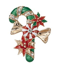 Napier® Goldtone, Red and Green Candy Cane Brooch in Gift Box