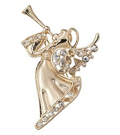 Napier® Goldtone and Rhinestone Angel Brooch in Gift Box