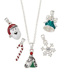 Napier® Silvertone and Multicolor Christmas Motif Charm Interchangeable Necklace in Gift Box