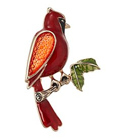 Napier® Red And Goldtone Cardinal Brooch In Gift Box