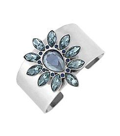 Jessica Simpson Silvertone Drama Stone Cuff Bracelet