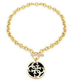 GUESS Goldtone Crystal Toggle Necklace