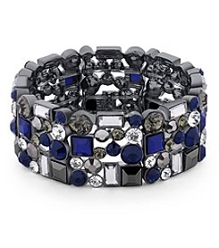 GUESS Hematite Tone Multi Stone Stretch Bracelet